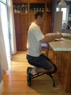 Using a kneeling chair to work at low kitchen counters