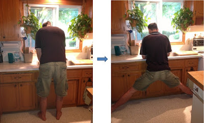 Tall People Working In Kitchen At Sink Back View