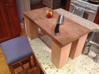 Raised cutting board for tall people on legs