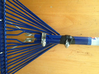 How to connect a rake head and telescoping handle for tall people