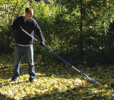 demonstration of using a rake for tall people
