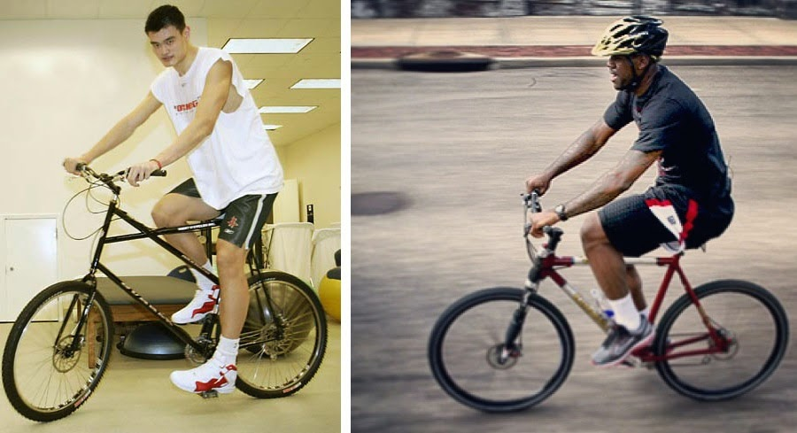 "Yao Ming and Lebron James on 29"" Mountain Bikes"