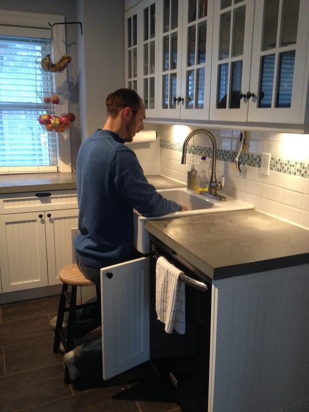 Raised Kitchen Sink Alternative: The Stool for Tall People