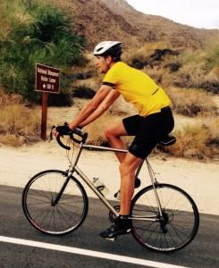 6'9 Guy Riding Titanium Custom Bike