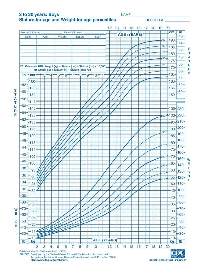 Boys 2 To 20 Years Growth Chart