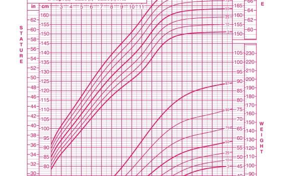 Girls 2 to 20 years growth chart