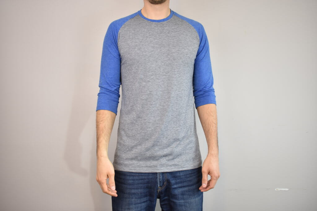 Tall Men's Three Quarter Raglan Shirt by Tall Slim Tees