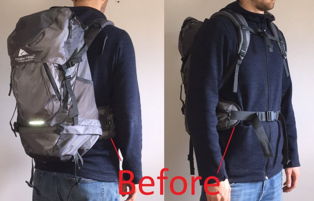 Hiking Backpack for Tall People Before Modification