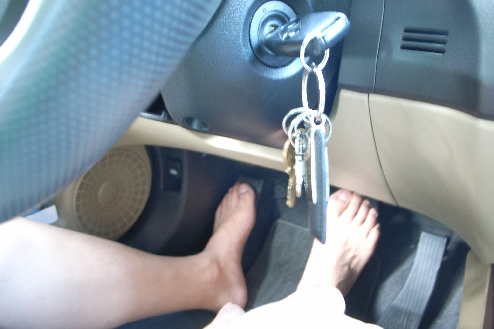 Tall People Driving Barefoot for more legroom